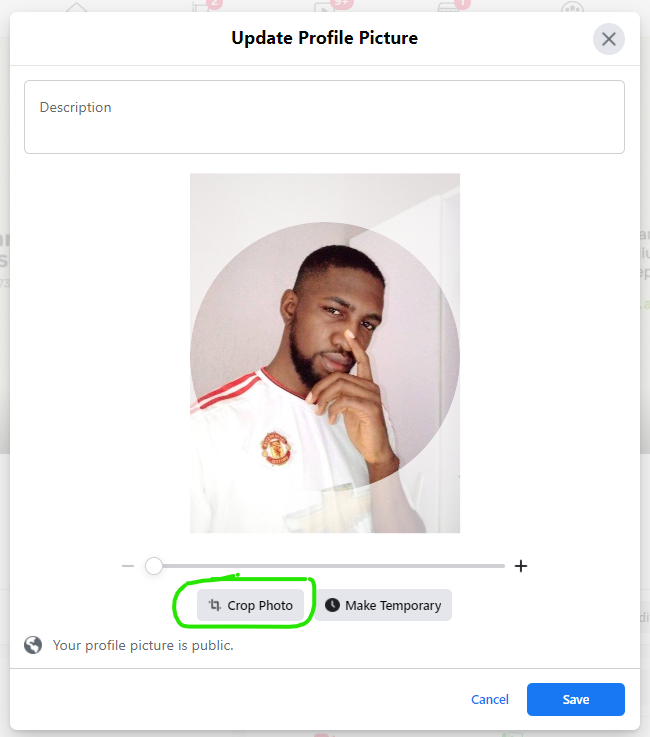 The photo cropping modal which appears before setting a new profile photo on Facebook